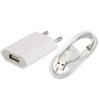 Charger Plus Kabel Data Lightning for iPhone 5G/C/S + Free HeadsetKabel - Putih - 3