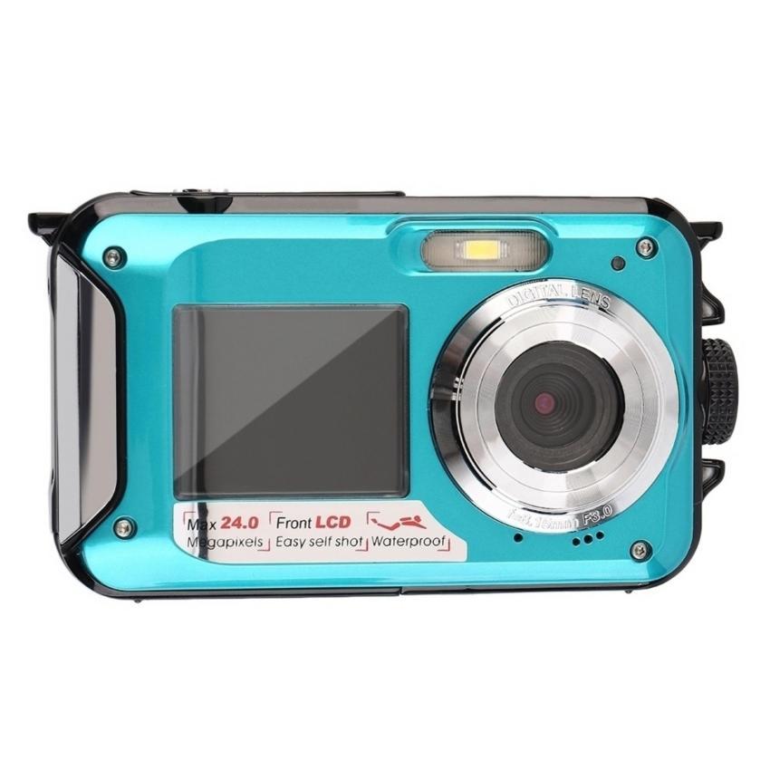CHEER Digital Camera Waterproof 24MP MAX 1080P Double Screen16x Zoom Camcorder Blue