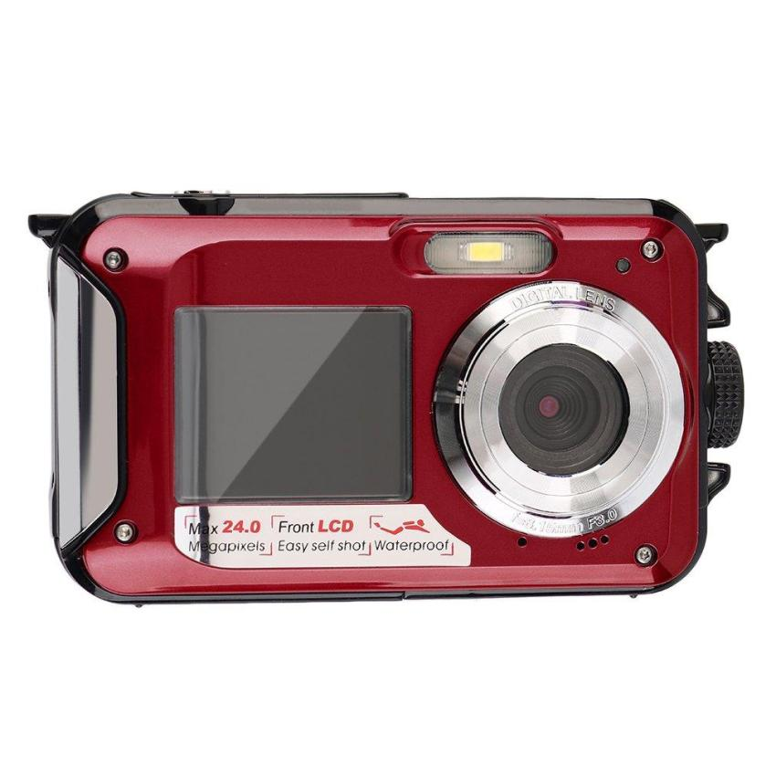 CHEER Digital Camera Waterproof 24MP MAX 1080P Double Screen16x Zoom Camcorder Red