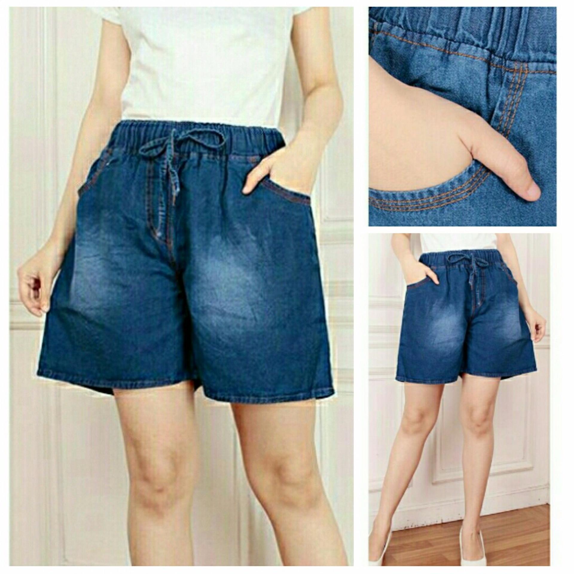 Cj collection Celana jeans jumbo pendek hotpant wanita jumbo short pant Savita
