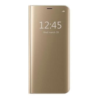 Perbandingan harga Clear View Flip Stand Case Cover For Samsung Galaxy S6 Edge Plus (S6 Edge+) Gold - intl Online murah