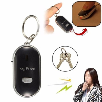 Colorful LED Key Finder Locator Find Lost Keys Flashing Alarming Key Chain Whistle Beep Sound Control Black - intl
