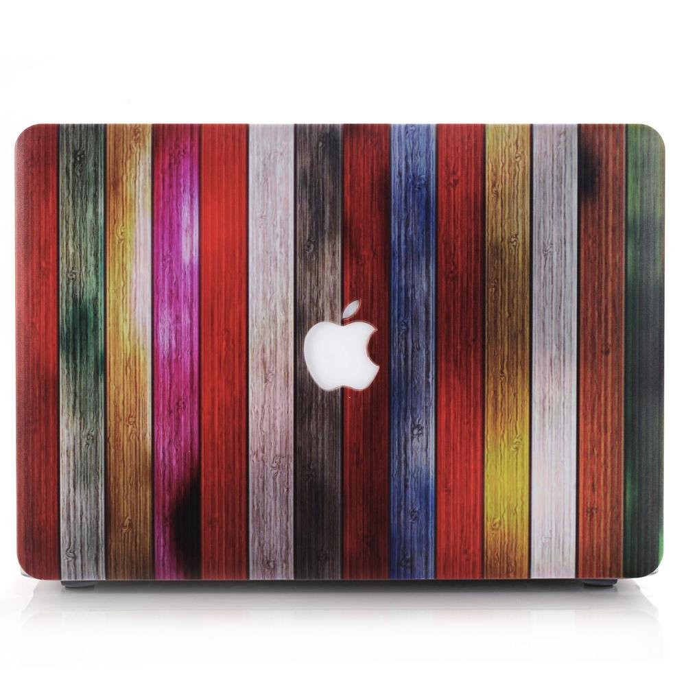 colorful wood strips laptop case