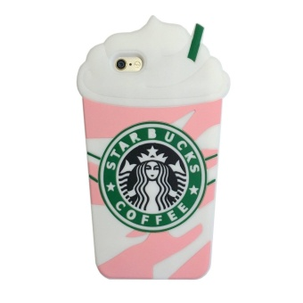 Cute 3D Starbucks Pink Strawberry Frappuccinos Cup ProtectiveSilicone Case Cover for Apple iPhone 5/5s/5SE - intl