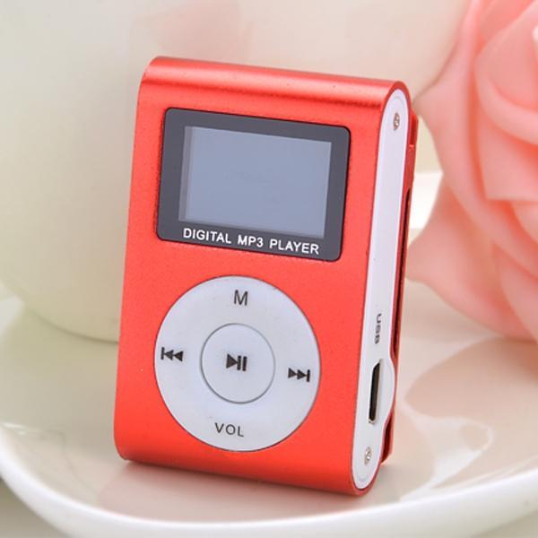 ... Cyber Red Mini Player Clip USB FM Radio LCD Screen Support for 32GB Micro SD ...
