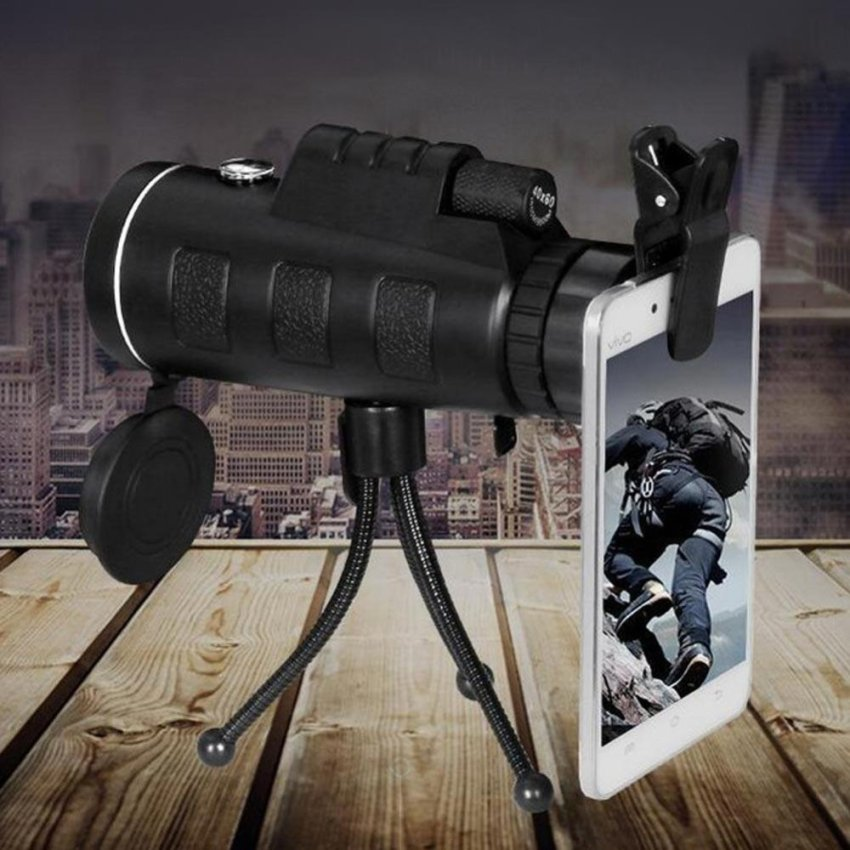 Day and Night Vision HD 40x60 Handheld Optical Monocular OutdoorCamping Hunting Telescope Zoom With Compass Tripod Phone Clip -intl
