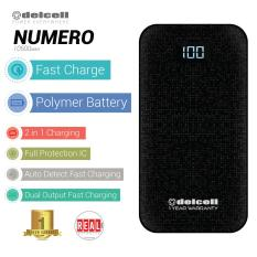 Delcell NUMERO Powerbank Fast Charge 10500mAh Real Capacity Digital Display- All Black