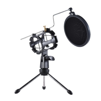 harga Detachable Desktop Microphone Tripod Stand Holder Bracket Supporter with Shock Mount Mic Holder & Double Dual-layer Pop Filter & Stick Professional for Broadcast Podcast Meeting Online Conference Chatting Lecture - intl Lazada.co.id