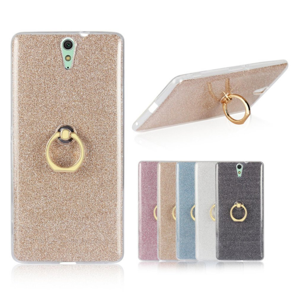 Drop Resistance Metal Ring Stand TPU Phone Case Cover for SonyXperia C5 Ultra .
