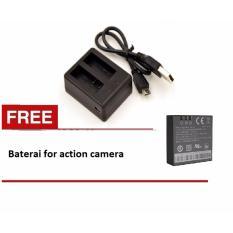 Dual Battery Charger for action camera Kogan Brica ETC + baterai 1pcs
