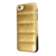 Emco For Apple Iphone 5/5S Leather Imported Cool Hard Bumper Design Compact Case - Gold