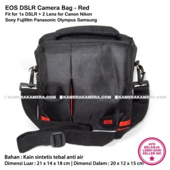 Harga EOS DSLR Camera Bag Red Stripe Fit for 1x DSLR + 2 Lens for Canon Nikon Sony Fujifilm Panasonic Olympus Samsung Terbaru klik gambar.