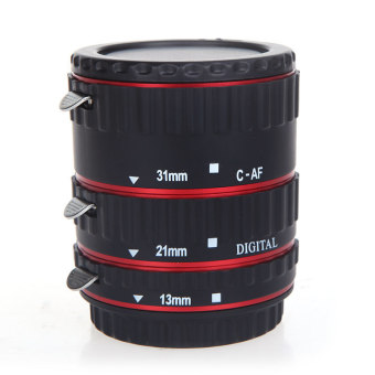 EOS EF EF-S 60D 7D 5D II 550D Colorful Metal TTL Auto Focus AF Macro Extension Tube Ring for Canon Red