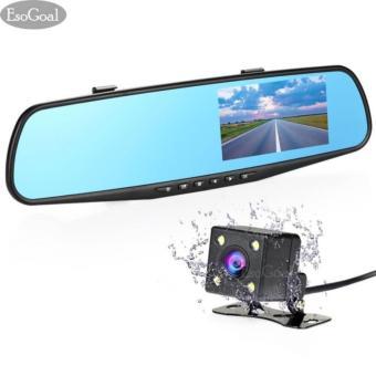 EsoGoal Dual lensa Dash Cam spion mobil kamera 43 Inch TFT