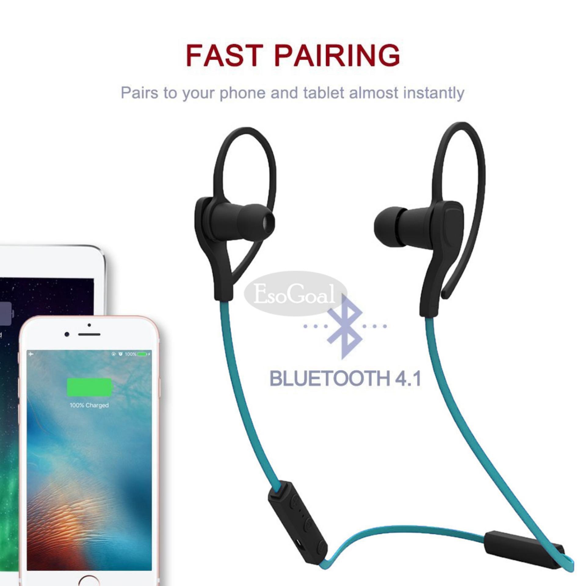 EsoGoal tujuan Bluetooth Wireless Headphone Olahraga Workout telinga tunas Gym headset menjalankan earphone