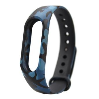 Fashion silikon dicetak penggantian gelang tali gelang Smart Band aksesoris untuk Xiaomi Mi Band 2 kamuflase a