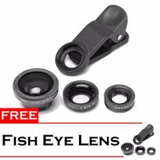 Fish Eye Lensa 3 in 1 Universal Untuk Smartphone Free Fish Eye Hitam .