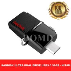 Flashdisk SanDisk Ultra Dual USB Drive 3.0 32GB speed upto 150MBps ORIGINAL GARANSI RESMI 5 TAHUN - HITAM
