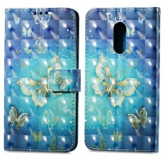 Flip Style Fashion 3D Art Pattern Button Cover (PU leather and TPU) Stand Function
