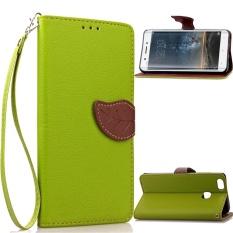 Flip Style Fashion Pola Daun Tombol (PU Kulit dan TPU) Stan Fungsi Pelindung Dompet Ponsel Case untuk vivo Xplay5 (5.43 Cm)-Internasional
