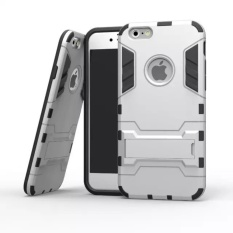 For iPhone 5C Silicon Frame Hard Plastic Shockproof Phone Case WithHolder (Silver) - intl