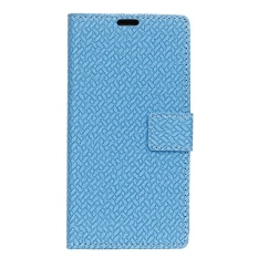 For LG U Woven Pattern Leather Magnetic Flip Stand Cover (Blue) - intl
