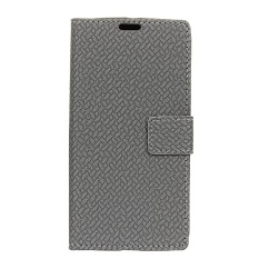 For LG U Woven Pattern Leather Magnetic Flip Stand Cover (Grey) - intl