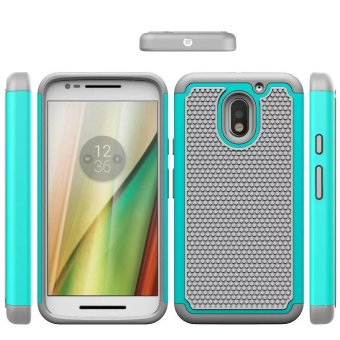 For Motorola Moto E3 cases 2in1 Hard Cover Heavy Duty Armor HybridRugged Rubber Silicone Phone Case (Light Blue) - intl