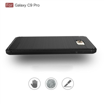 For Samsung Galaxy C9 Pro Carbon Fiber Shockproof Case With HD FullCoverage Tempered .