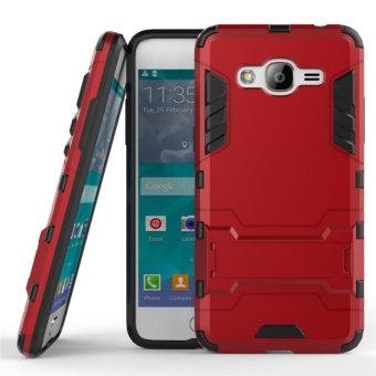 For Samsung Galaxy J2 Prime Silicon Frame Hard Plastic ShockproofPhone Case With Holder Red