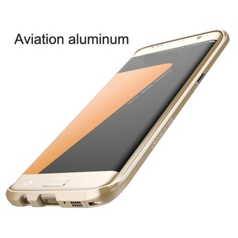 For Samsung Galaxy S7edge Metal Frame Phone Cases Original Luxury Aluminum Bumper + PU Leather Back Cover Case - intl - 5