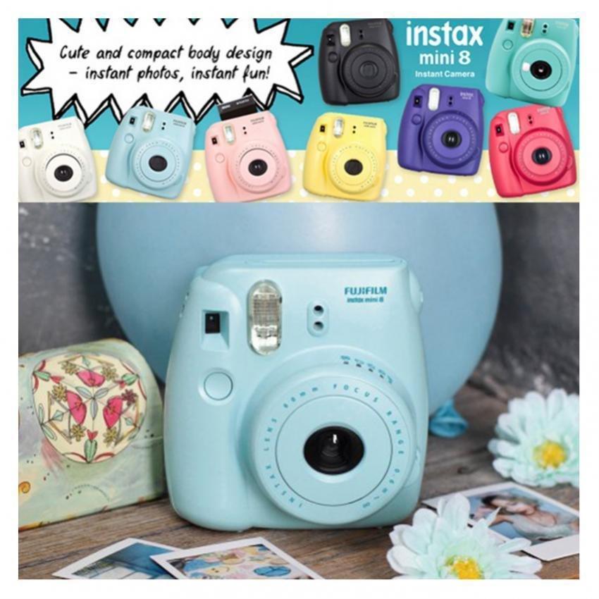 Fujifilm Fuji Instax Mini 8 Instant Photo Film Camera (Blue) +Close-up Lens