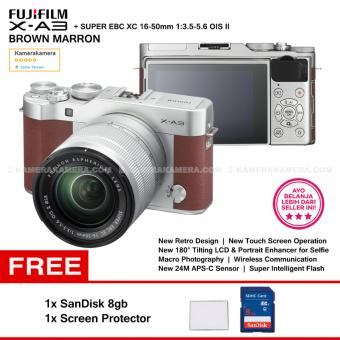 FUJIFILM X-A3 Brown Marron XC 16-50mm WiFi 24MP Touchscreen LCD Mirrorless Camera + SanDisk 8gb + Screen Guard