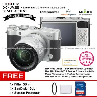 FUJIFILM X-A3 XC 16-50mm WiFi 24MP Touchscreen LCD Mirrorless Camera (Garansi 1th) + SanDisk 16gb + Screen Guard + Filter 58mm