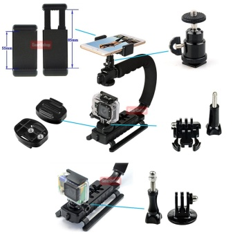 GearBear 6 in 1 C-Shape Rig Low Angle Position Steady Cam Handheld Stabilizer handle Grip + Smart Cellphone Holder + Hot Shoe + Gift Tripod Adapters Mount For GoPro Hero 5 4 Session 3+ 3 2 1 Action Camera DSLR Camcorder etc - 2