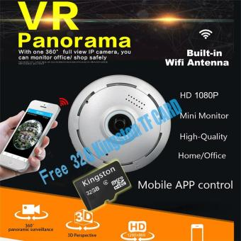 Gratis Kartu TF 64G Kamera HD IP 1080P 360 derajat Jarak pandang luas Kamera Mini CCTV 2MP jaringan keamanan rumah Kamera Panorama WiFi IR - intl