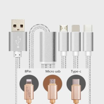 Gshop Micro+Lightning+Type-C 3 in 1 Gold Apple and Micro USB Charger Cable Nylon Lighting Cord Charging for Android / iPhone / iPad 1.25M