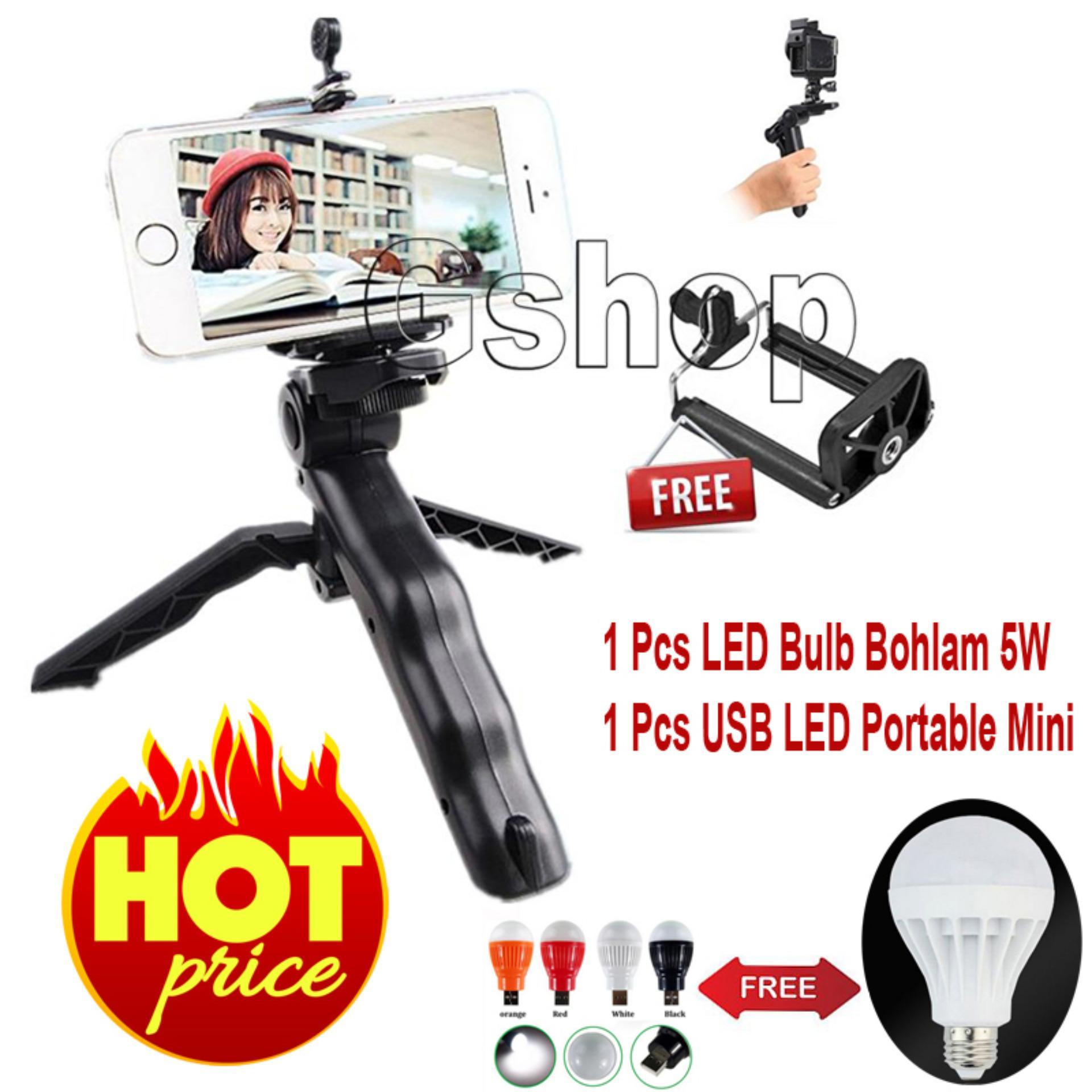 Flash Sale Gshop Mini Tripod Multi Fungsi For Smartphone & GoPro +U Holder+ LED Bulb 5W + USB LED Portable