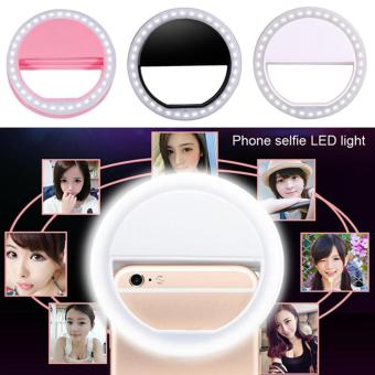 Gshop Portable Clip-on Mini 36 LED Selfie Ring Lamp Fill-in Light Night Lampu Selfie Ring Lighting for iPhone Samsung BlackBerry HTC Huawei LG Smartphone PC Black Outdoorfree