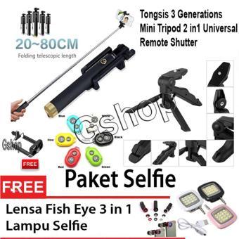 Gshop Universal Mini Tripod Multifungsi 2 In 1 DSLR,XiaomiYi,Camera Digital + Tongsis 3 Generations + Remote Shutter + LampuSelfie + Fish Eye