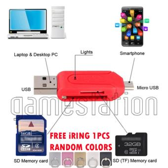 harga GStation OTG Card Reader for SDHC Micro SD 2 in 1 + iRing Phone Holder Stand Lazada.co.id