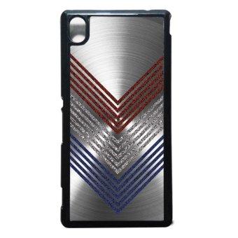 Heavencase Case Casing Sony Xperia M4 Aqua Case Hardcase MotifBatik Kayu Chevron 11 - Hitam