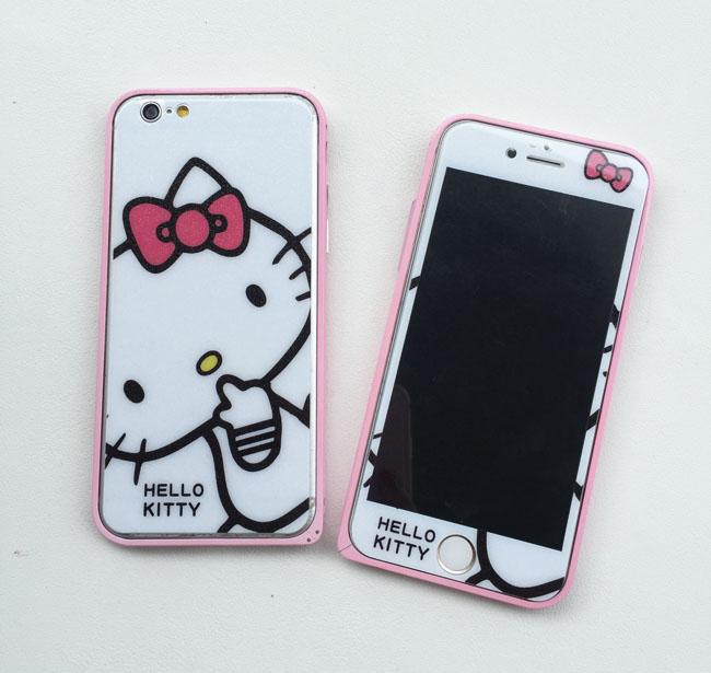Hello kitty iphone6 6plus lucu layar penuh warna pelindung layar pelindung layar baja .