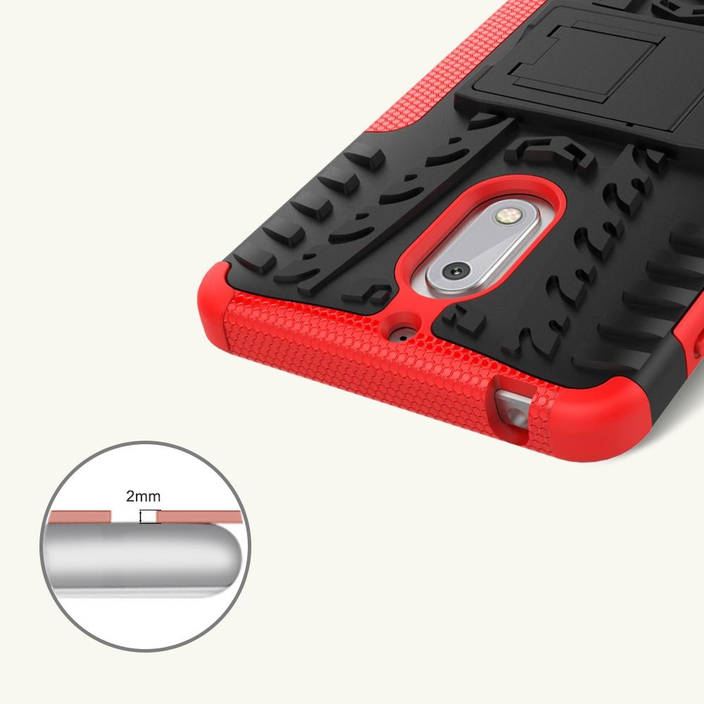 Hicase Detachable 2 in 1 Shockproof Tough Rugged Dual-Layer Case Cover for Nokia 6