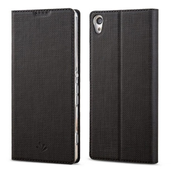 Hicase Slim PU Leather Flip Protective Magnetic Cover Case for Sony Xperia X with Card Slot and Stand Feature-Black - intl