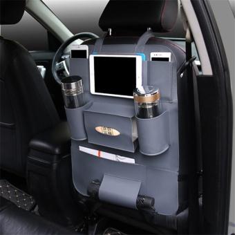 High Quality PU Leather Car Seat Back Organizer Sundries HolderMulti-Pocket Travel Storage Bag Hanger Backseat Organizing BagsGray - intl