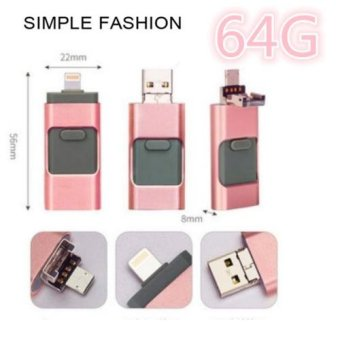 Hot Sale 64GB 2.0 USB i-Flash Drive U Disk Memory Stick StorageAdapter USB Flash Drive For iPhone OTG Phone Android Computers 3 IN1 - intl - 4