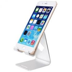 HOTOR Solid Aluminium Desk Desktop Stand untuk IPhone 6 6 Plus 4 S 5 5 S 5C IPad 2/3 Air Mini/Samsung Galaxy S3/5 HTC ONE M7 Tab Tablet BlackBerry Google Nexus Lumia dan Smartphone Lainnya, Silver-Intl
