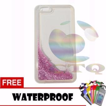 Icantiq Case Oppo F3 Plus / Oppo f3+ Softcase Water Glitter SoftBack Case / Sillicone Blink Blink Gliter / Casing HP Glitter SkinCase / Jelly case / Case Oppo F3 Plus / Oppo f3+ + Free Water ProofCase / Ultrathin - Pink Peach / Pink Muda
