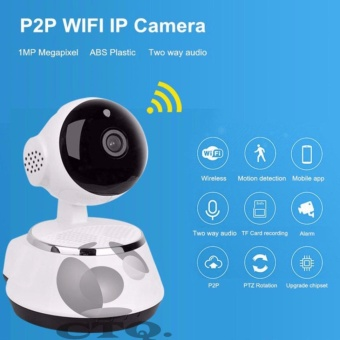 Icantiq IP Camera Smart Net CT V380 Q6 Wifi HD720 P2P CCTV Camerawith 2 Way Audio,Motion Sensor Alarm and Micro SD Slot - Putih